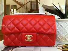 NWT 2015 CHANEL ORANGE CAVIAR GOLD HW NEW MINI CLASSIC FLAP BAG RARE LIMITED!!