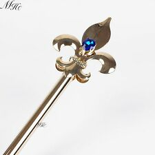Imperial Medieval Scepters Wand Blue Crystal Gold Sceptre Pageant Party Costumes