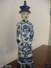 China Antique Porcelain Whiter and Blue Emperor kangxi Statue