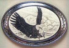 Belt Buckle Barlow  Scrimshaw Carved Painted Art Western Eagle Landing 592141