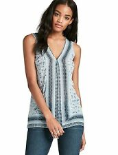 Lucky Brand - XS - NWT $89 - Blue Border Scarf Print Georgette Viscose Tank Top