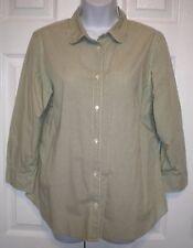 GAP Women's Shirt Top Blouse Green & White Checks Long Sleeve (size 12)