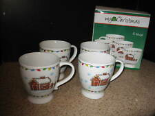 My Christmas Gingerbread House, Gingerbread Men & Xmas bulbs  Mugs set of 4 VGUC