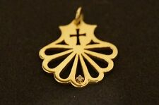 """James Avery Cross Fanned Pendant with Diamond 14K Yellow Gold 7/8"""" Inches"""
