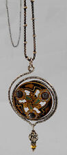 Vintage Sterling Silver Necklace & French Champleve Button Pendant Arts & Crafts