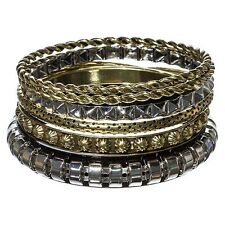 6PC Silver Gold 2 Two Tone Mixed Metal Braid Twist Texture Bangle Bracelet Set