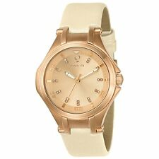 Invicta 23254 Women's Gabrielle Union Rose Gold Dial Beige Leather Diamond Watch