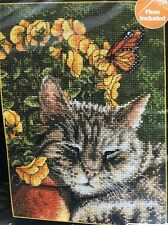 Bucilla Afternoon Nap Cat Counted Cross Stitch Kit Gray Tabby 5x7 Kitty 45700