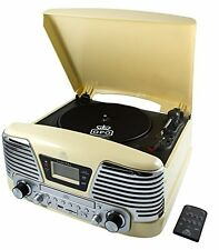 Retro Turntable 4-in-1 Music CD FM Radio Vinyl Palyer MP3 REmote LCD Gift Cream