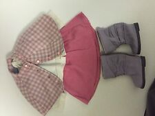 American Girl Doll COZY PLAID OUTFIT Skirt Cape Top Boots