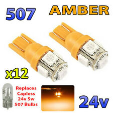 12 x AMBER 24v Capless Hella Spot Light 505 W3W 5 SMD T10 Wedge Bulbs HGV Truck