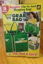 Grab Bag Clip-To-Cart Reusable Grocery Shopping Bags, Pack of 2 As seen on Tv ..