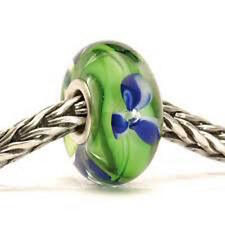 Trollbeads BLUE FLOWER glass/SS bead AUTHENTIC NWBAG FREE US SHIPPING!