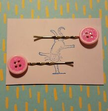 Handmade set of two pink glitter button silver bobby pin hair clips