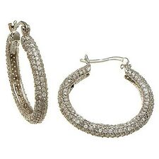 MICRO PAVE CZ 14K WHITE GOLD VERMILE DOME HOOP EARRINGS  925/SS-30MM