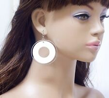 #E215D Pair non-piercing CLIP ON EARRINGS Large Big Hoop Round Circle Sexy Women