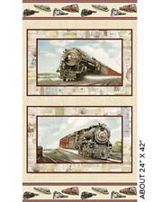 Locomotion Trains Sand Panel Cotton Quilting Fabric - 60cm x 110cm - Benartex
