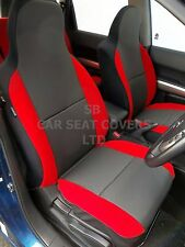 TO FIT A KIA SEDONA 7 SEATER CAR FRONT SEAT COVERS, RAVEN BLACK / POPPY RED TRIM