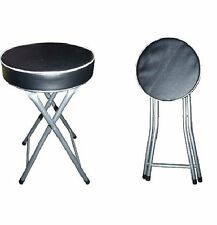 Round Folding Stool Black Soft Padded Seat Foldable Chair Stool Kitchen 51x31cm