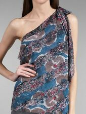 NWT WALTER BAKER Blue Multi One Shoulder Silk Top size 8 retail  $218