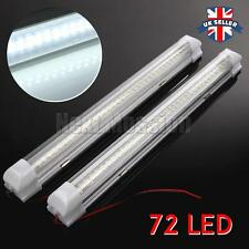 2x 12V 72 led voiture blanche intérieur strip lights bar lampe van caravane on off switch
