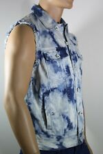 NEW GUESS MEN'S VEST DESTRESED  Marble Wash DENIMIN BLUE & WHITE SZ: M