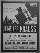 PUBLICITÉ 1927 JUMELLES KRAUSS A PRISME GRAND CHAMP - ADVERTISING