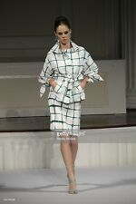 Oscar de la Renta Green White Watercolor Checked Pattern Belted Silk Jacket SZ 8