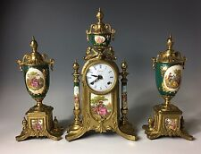 Imperial Self Clock and Urns Italy German Hermle Movement French Sevres Style