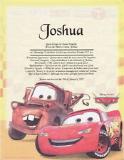 Disney Pixar Cars First Name Meaning For Son Daughter Christmas Birthday Gift