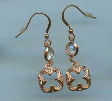 ROSE GOLD PLATED & PAVE CZ CLOVER DANGLE EARRINGS