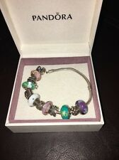 PANDORA AUTHENTIC Silver Bracelet with  11 Pandora Charms (incl glass charms)