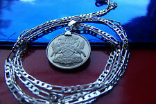 "RARE TRINIDAD COAT OF ARMS PROOF Coin PENDANT on a 30"" .925 SILVER CHAIN"