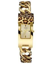 NIB GUESS WOMEN'S Iconic ID Leopard print gold tone Watch Brown U0321L5