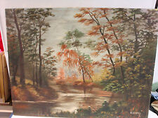 Great colorful early signed painting by SIMON of a Fall creek setting.
