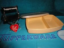 VINTAGE TUPPERWARE TAN / ALMOND DIVIDED PACKETTE LUNCH CONTAINER # 813 LID # 814