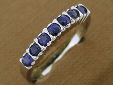R136- Genuine 9K Solid White Gold Natural Sapphire Wedding Eternity Ring size O