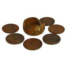 Untersetzer Holz Messing 6 runde Tellerchen in Aufbewahrungsschale Tischgedeck