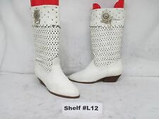 CALICO (3-Gringo) White Perforated Leather Cowboy Boots Womens Size 6.5 M