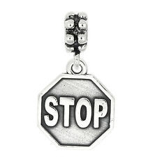 STERLING SILVER DANGLE Large Stop Sign BEAD CHARM