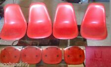 4 EAMES CHERRY RED Girard Naugahyde Fiberglass Side Shells Herman Miller Chair