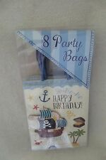 Punch Studio Set of 8 Glitter and Pirates Ship Party Favor Treat Bags New Cute