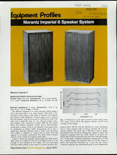 Ultra Super Rare Vintage Marantz Imperial 6 Speaker System Dealer Sheet Page