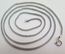 "19.7""L NEW Pure S925 Silver Necklace Men&Women Perfect Popcorn Elegant Chain2mmW"