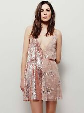 Free People Brightest Diamond Pink Sequin Wrap Dress-L