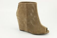 $250 NEW Ash June Taupe Suede Wedge Open Toe Booties 37 / 6.5 Pumps Heels 340309