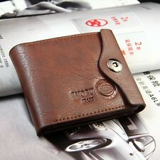 Fashion Mens Brown Leather Credit ID Card Holder Purse Bifold Wallet Accessories