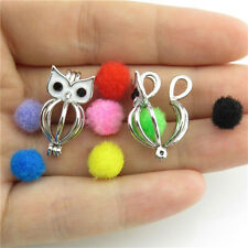 2pcs Silver Pendant Copper Perfume Oils Diffuser Cage Enamel Animal Owl Locket