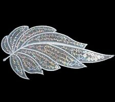 i215 Iron On White+Silver Sequin Applique Flower Leaf