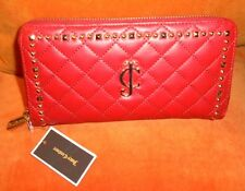 Juicy Couture Red Quilted Leather Studded Zip Around Wallet Clutch YSRUO178 $90